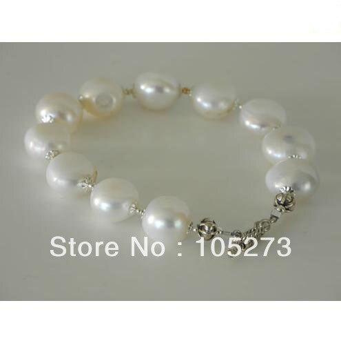 Nouveau Arriver perle bijoux couleur blanche 13-14mm blanc Coin Shaper naturel perle Bracelet 8 ''mode mariage bijoux livraison gratuite