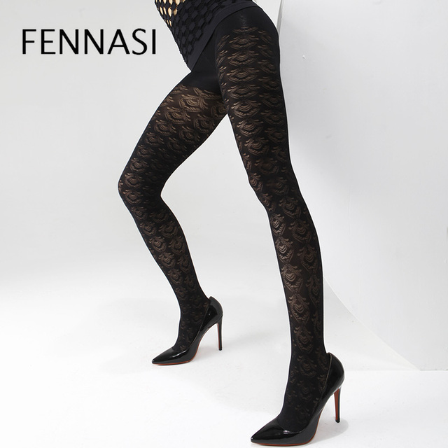 1541d1a994e FENNASI Autumn Winter Jacquard Floral Women s Pantyhose Flower Floral  Pattern Sexy Mesh Tights Warm Female Erotic