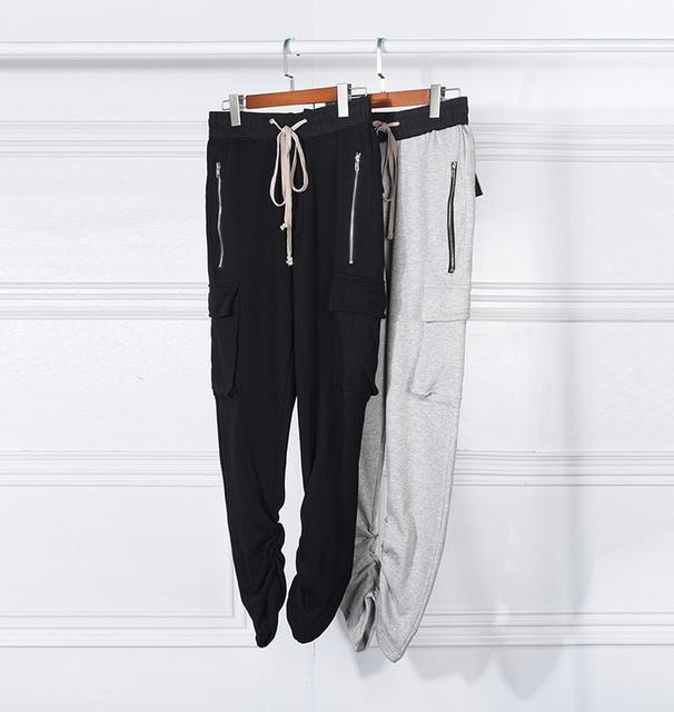 2016 El Más Nuevo de Moda Kanye West Joggers pantalones pantalones Deportivos Pantalones Harén hombres Hip Hop Swag Slim Fit Flaco calle Gris negro