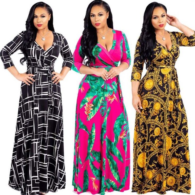 Plus Size Dresses for Women Autumn Elegant 2018 Maxi Long Dress Female Half  Sleeve Floral Vintage Ladies Bohemian Vestido L-6XL 669f5c58bedd