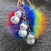 Hot Sale 8cm Colorful Mink Fur Ball Pompom Keychain Snowman Bell Key Chain Bag Pendant Accessories