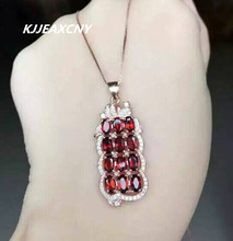 цена KJJEAXCMY boutique jewelry, Natural garnet female Necklace Pendant pendant jewelry wholesale S925 Sterling Silver онлайн в 2017 году
