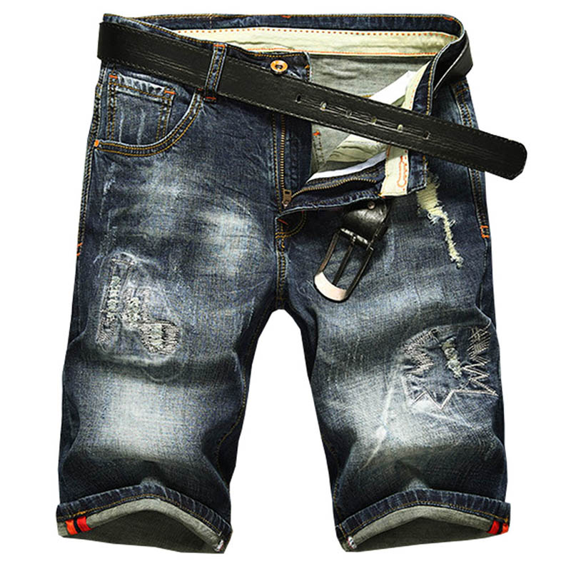 2018 summer new slim hole fashion five jeans men Shorts Men Ripped Short Jeans Straight Retro Shorts