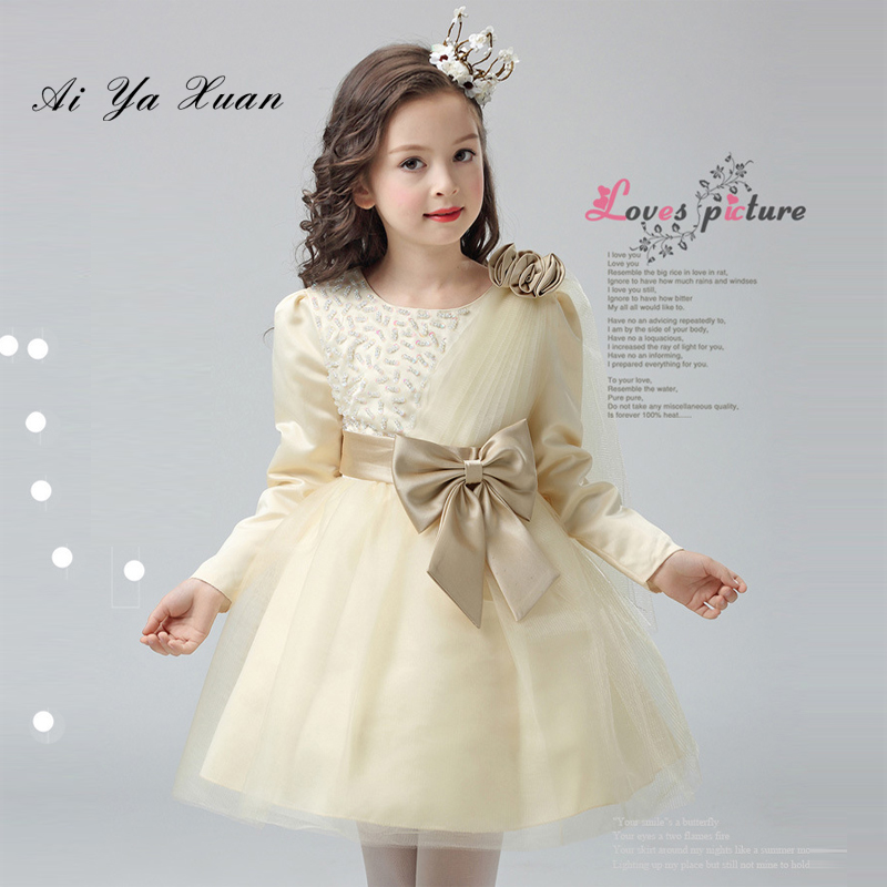 AiYaxuan 2017 Tulle Flower Girl Dresses For Weddings Girls Party Princess Ball Gown Appliques Long Sleeve First Communion Gown