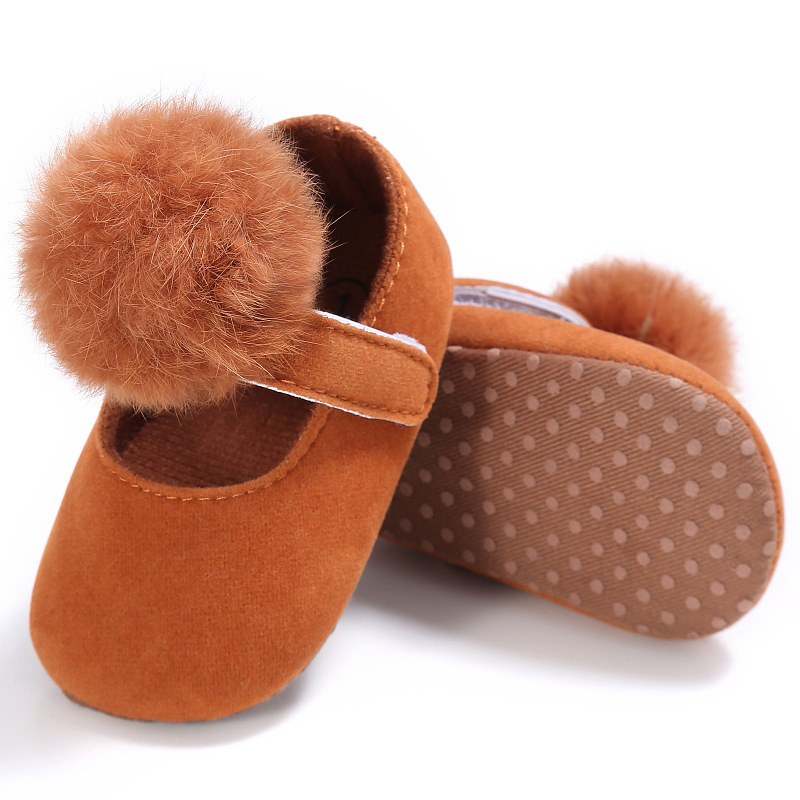 New Cute style Ball Girls Shoes Prewalker Cotton Suede leather Baby Moccasins Soft soled First Walkers Newborn baby shoes