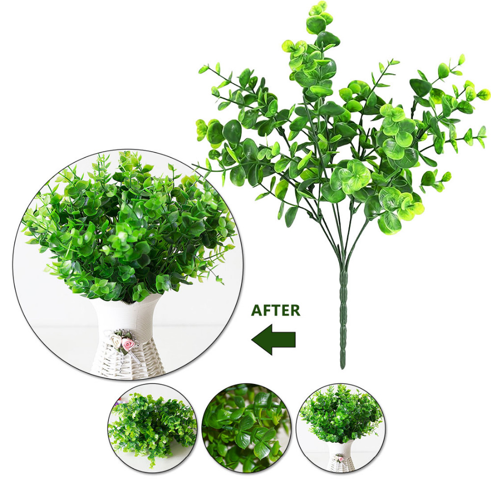 1Pcs=7 Branch Wedding Garden Artificial Green Plants Fake Home Furniture Decor Party Plastic Home Milan Grass Foliage Plant Tree