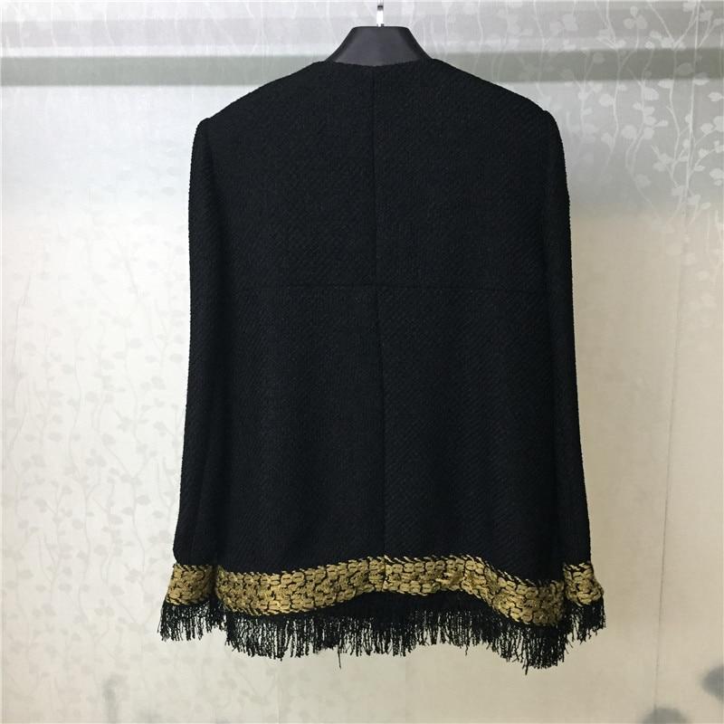 Automne Veste Pour 2018 Tweed Noir Manches Manteau Nouvelles Longues O Élégant Mode cou Femmes De ZIE5wwq