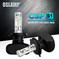 Oslamp Auto Levou Farol H7 H4 H13 9005 9006 HB3 HB4 Levou CSP Chip do carro Lâmpada 6500 K 50 W 8000lm Fan-less H8 H11 luz de Nevoeiro All-in-one