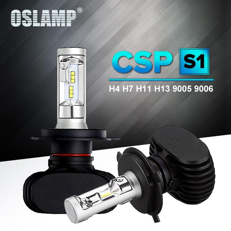 Oslamp Auto <font><b>Led</b></font> H7 Headlight H13 9005 HB3 9006 HB4 <font><b>Led</b></font> H4 Car Bulb 6500K CSP Chip 50W 8000lm Fan-less H8 H11 Fog Lamp All-in-one