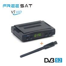 HD Mini satellite TV receiver Freesat V7+USB wifi DVB-S2  with1 year cccam cline USB WIFI Dongle,Patch,Powervu Freesat V7