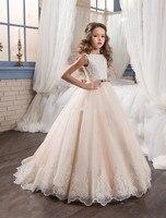 2017 New Custom Flower Girl Dresses For Wedding Blush Pink Princess Sequins Applique Lace Vintage Girls