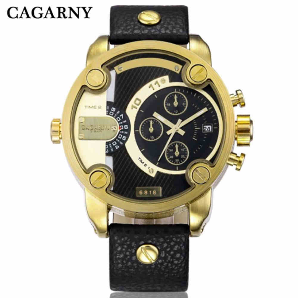 Cagarny Quartz Watches Men Casual Men Quartz Watches Golden Sport Russian Army Military Watch Man Dual Time Zone Display Clock
