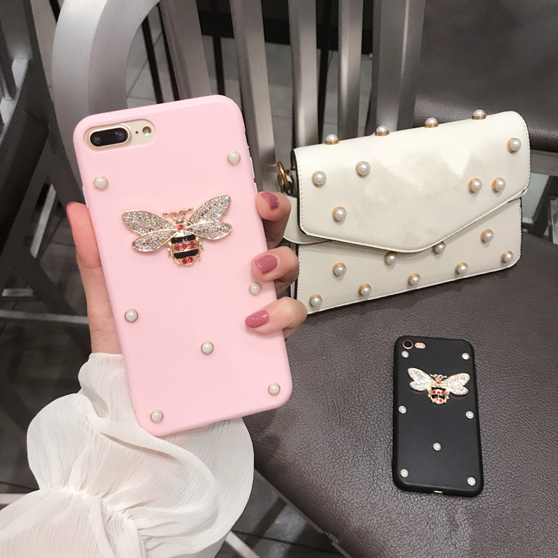 Luxury 3D metal diamond bee pearl soft TPU case for iphone 5 5s 6 6s 7 8 plus 10 X cover for Samsung Galaxy S6 S7 edge S8 note