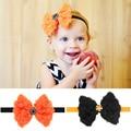 Chiffon Headband nylon elastic cord Bowknot for children Halloween Jewelry Gift rhinestone black orange red 120x100mm 15 Inch