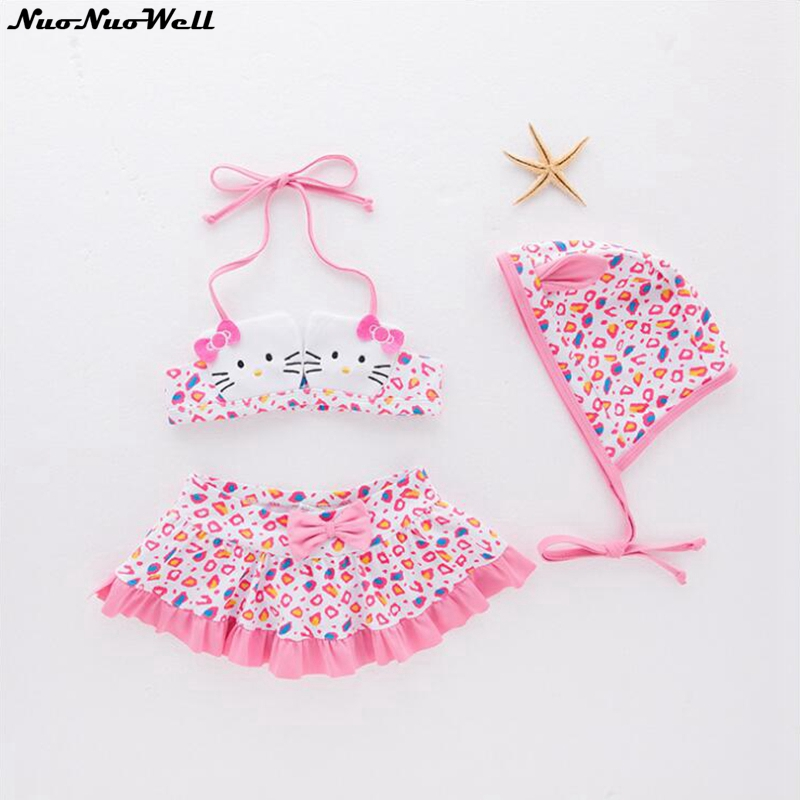 Childrens Pink Hot Spring Bathing Suit Girls Swimwear Cat Style Sling Halter Swimsuit Three Pieces Animal Cute Beachwear