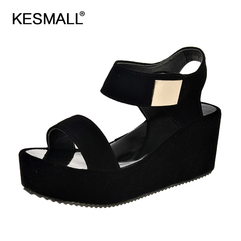 Sandals women 2018 summer new Korean fashion women sandals sponge cake thick heels with fish mouth Roman tide shoes women black