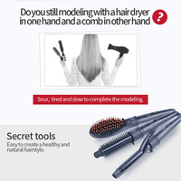 3 In 1 Interchangeable Ceramic Deep Wave Hair Curler Volume Comb Hair Straightener Brush Multifunction Hair