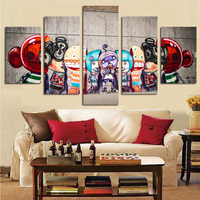 5 Panel Print Graffiti Banksy Canvas Painting Street Pop Art Modular Wall Picture Canvas Painting For