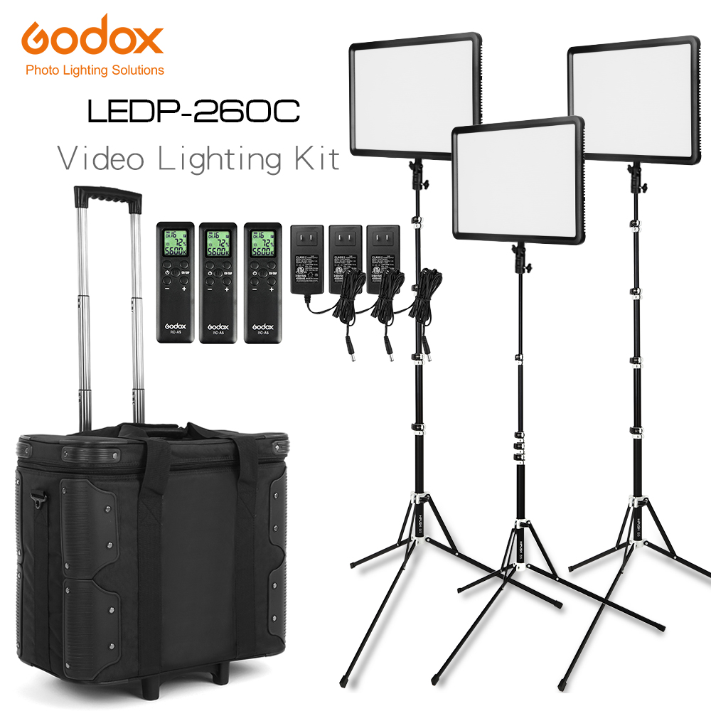 Free DHL Godox LED Light Kit 3x LEDP 260C 3300 5600K Video Light Light Stand Roller