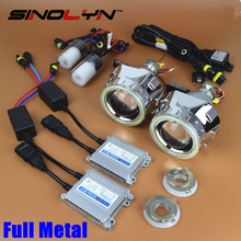 Full Metal 2.5 pulgadas Pro Líder HID Bixenon Lente Del Proyector Del Faro Kit completo Con COB LED Angel Eyes Halo DRL Car Styling