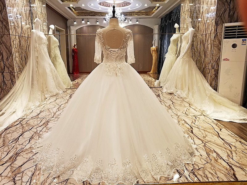Aliexpress Buy LS89054 Elegant Lace Wedding Dress Ball Gown Crystal Gowns With Long Tail Robe De Mariage 2017 Real Photos From Reliable