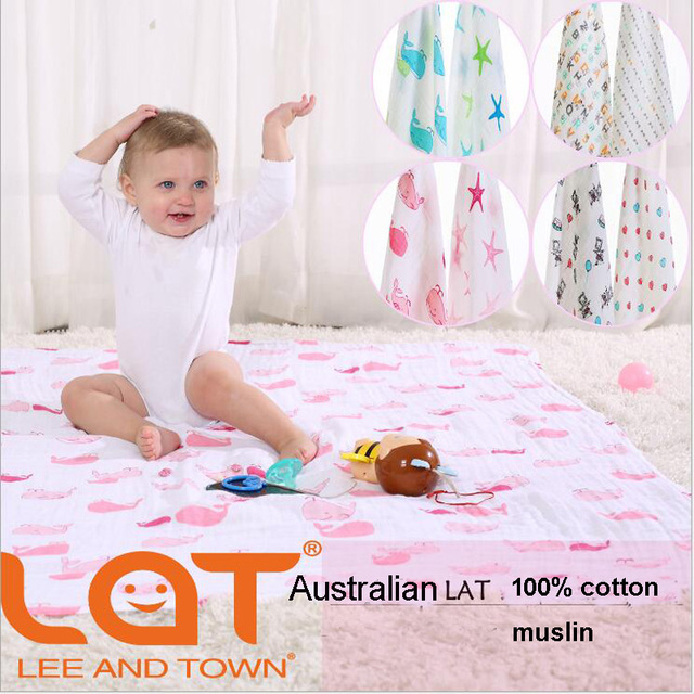 """Top Quality LAT Baby blanket&Swaddle 100% Cotton Muslin One Layer Two 47""""x 47"""" Pre-washed Multifunctional Towel Infant Blanket"""