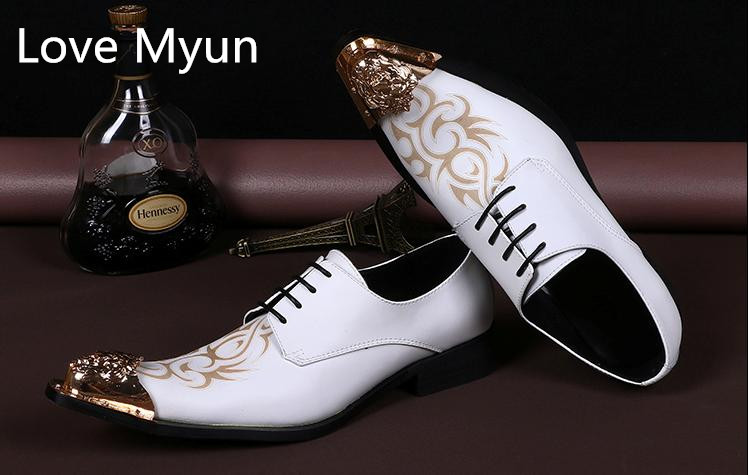 Fashion carving mens white genuine leather wedding shoes men luxury pointed toe design suit dress shoes