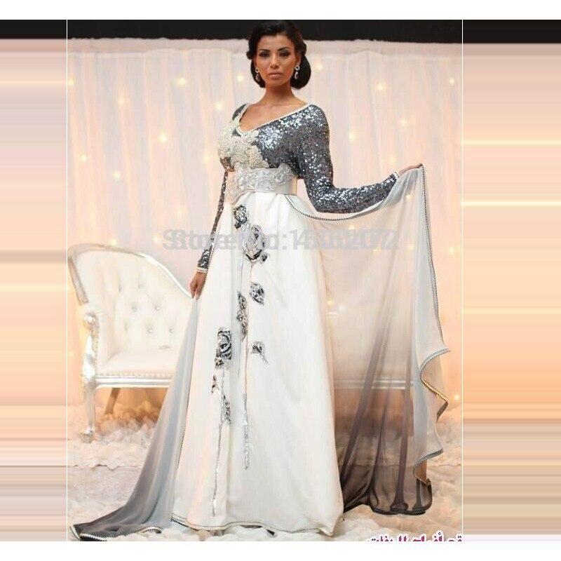 8116c5d1085 2017 Paillettes Longue Robe De Soirée avec Perles Perles Ombre Mousseline  de Soie Arabe kaftan Caftan Abaya Fantaisie Robe Dubaï Robe soirée arabe  dans ...