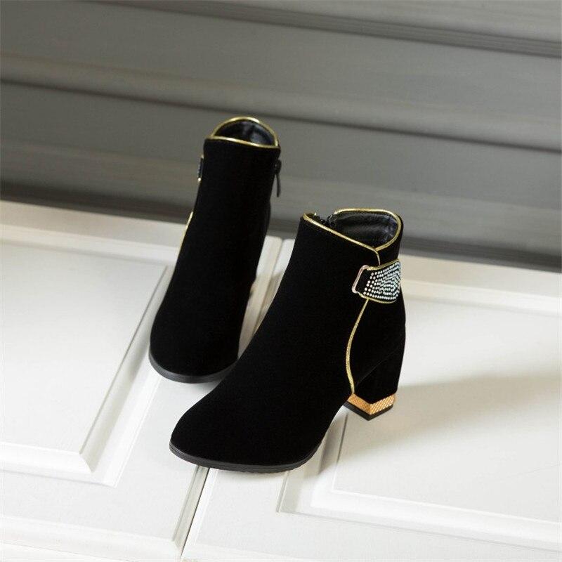Femme Bottes Épais Cuir Glissière Maziao Rond Casual Strass Talon Chaussures En rouge Martin Noir Latérale Bout Cheville X1w0Xq