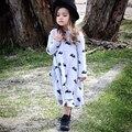 Розничные Neat 2016 черный белый полосатый цветы кружева стиль новорожденных девочек одежда с длинным sleever детские платья для девочек WG1065