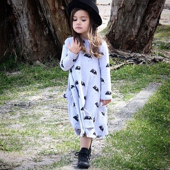Retail Neat 2016 black white striped flowers lace style baby girls clothes long sleever kids dresses for girl WG1065 conjuntos casuales para niñas