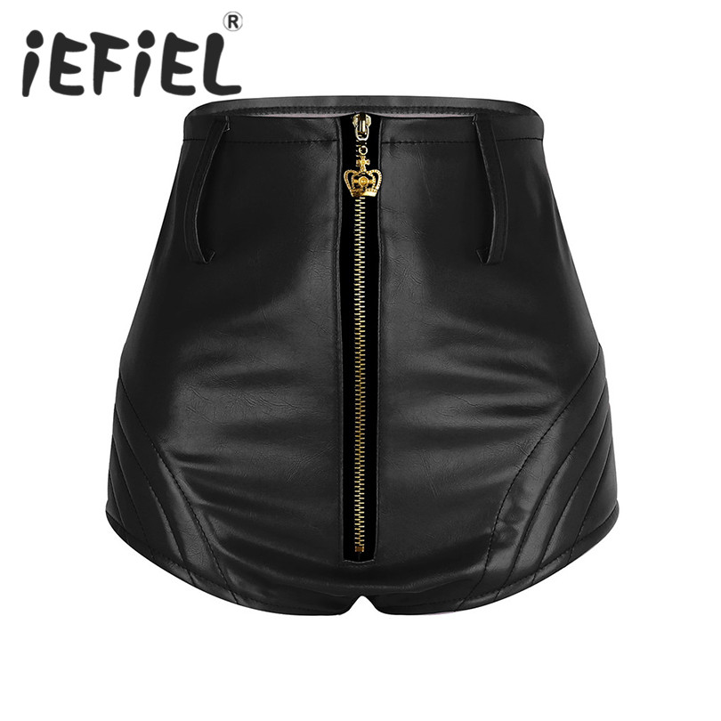 Fashion Women Wet Look Front Zipper High Waisted Booty Shorts Bottoms with Belt Tight Shorts for Nightclub Costume Party Clothes
