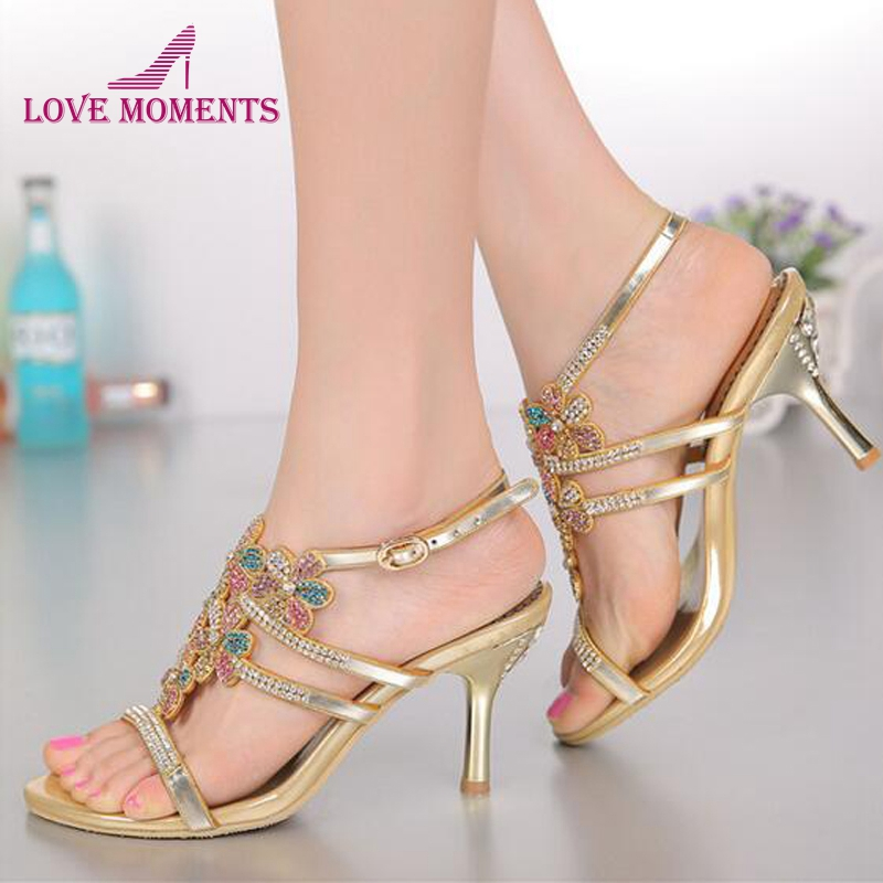 Open Toe Summer Sandals with Rhinestone Gold Color Wedding Dress Shoes Stiletto Heel Sexy Party Dancing