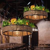 Черный Плетеный подвесной светильник веревка Люстра Кухня столовая Ресторан магазин ретро Лофт Промышленные осветительные приборы светил