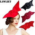 A194  Handmade Wool Felt Women Ladies Angel Wings Fascinator Party Wedding Head Accessories Women Show Fancy Pillbox Hat