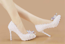 New summer tip lace bridal shoes Crystal diamond wedding dress wedding shoes High-heeled wedding shoes