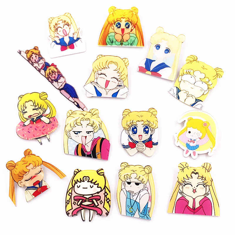 1 PZ Icone Kawaii Soldier Sailor Moon Acrilico Spilla Ragazze Del Fumetto Harajuku Distintivi Pin Vestiti Zaino Decorazione Spille