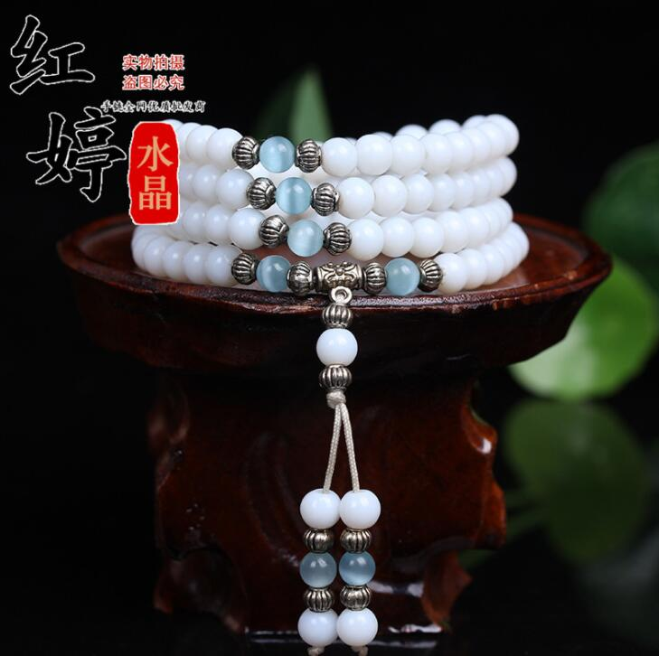 Mala Necklace Beads Tassel Chalcedony Prayer-Bracelet Tibetan Buddhist White 108