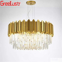 American Luxury LED Crystal Pendant Lamps Led Round Gold Chandelier Lighting For Hotel Hall Indoor Lighting Lustre Hanging Light