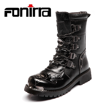FONIRRA Mid-Calf Men Motorcycle Boots PU Leather Shoes Metal Buckle Punk Rock Punk Shoes Men High Top Military Combat Boots 610