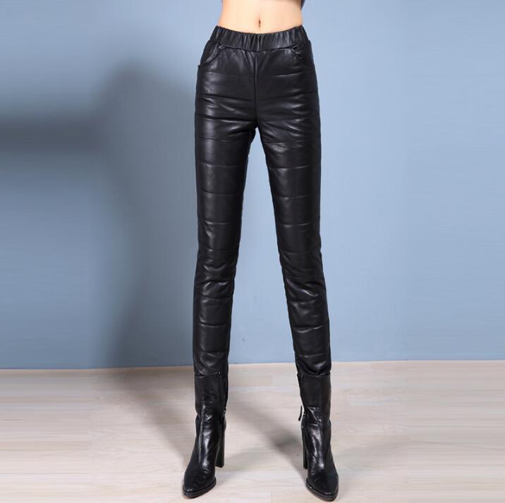 Зимние Овчина кожа Штаны женские тонкие брюки плюс бархат утолщение теплые из натуральной кожи утепленные брюки женские узкие брюки