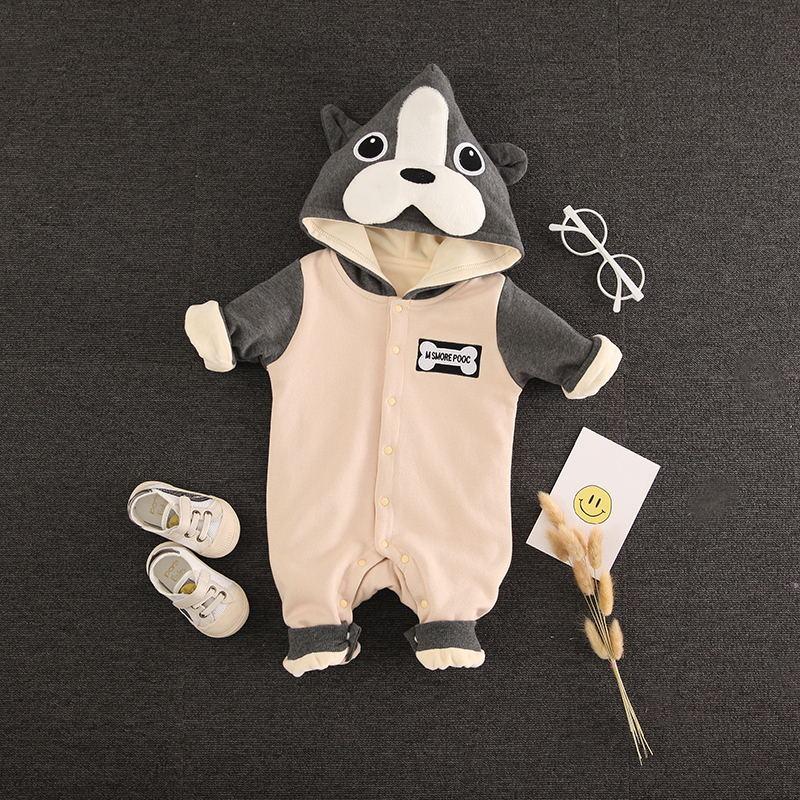 2018 hiver nouvelle Version coréenne du bébé Onesies à capuche épaississement mignon Animal coton vêtements bébé barboteuse