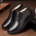 Hecho a mano de Los Hombres Botas de Cuero Genuino Botas de Nieve Cómodo Súper Caliente Del Invierno Zapatos De Piel Más Botines de Gran Tamaño A Prueba de agua