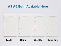 6 отверстий свободные блокнот со съемными листами спираль планировщик пополнения внутренний бумага A5 A6 страниц записная книжка