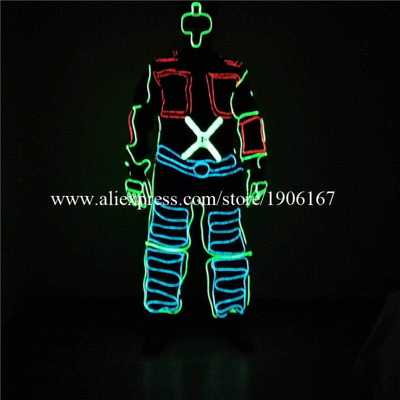 Newest RGB EL Wire Dance Suit Led Cold Light Party font b Clothing b font Light