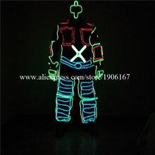 Новейшие RGB EL Провода костюм для танцев LED холодный свет одежда для вечеринки свет Хэллоуин Рождество сцены Костюмы для бальных танцев c