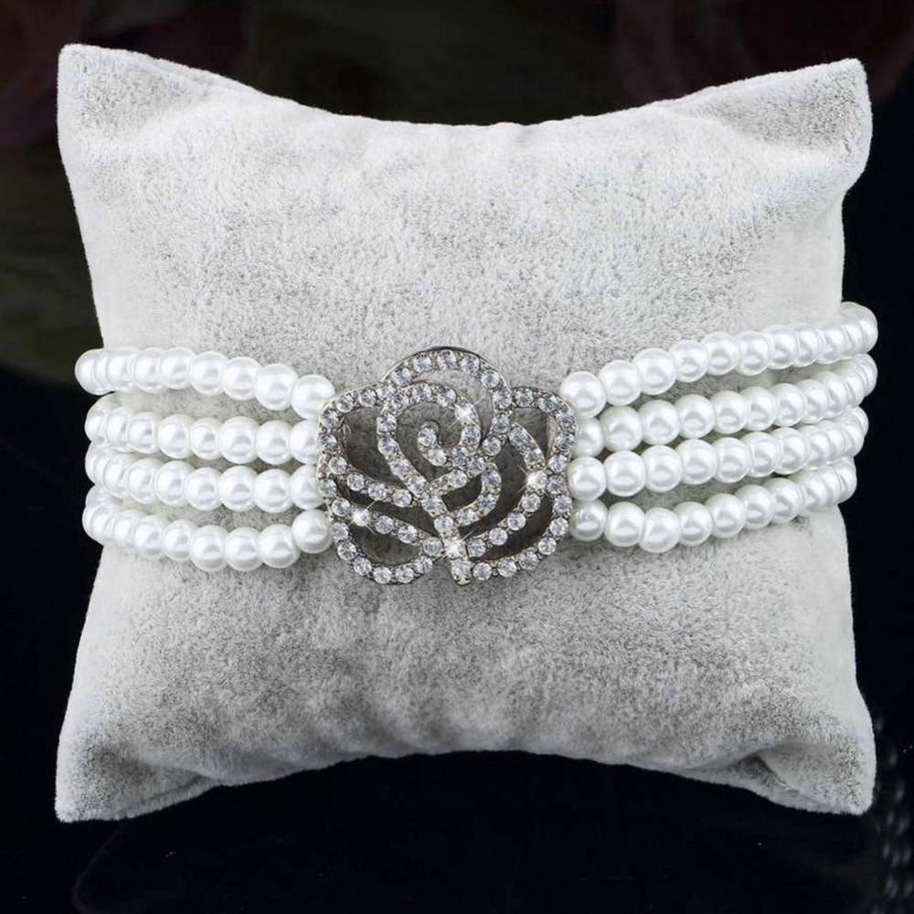 2018 Hot Sale High Quality Elegant 4 Layer Crystal Rose Flower Simulated-Pearl Bracelet Beads Bracelet Women Fashion Jewelry