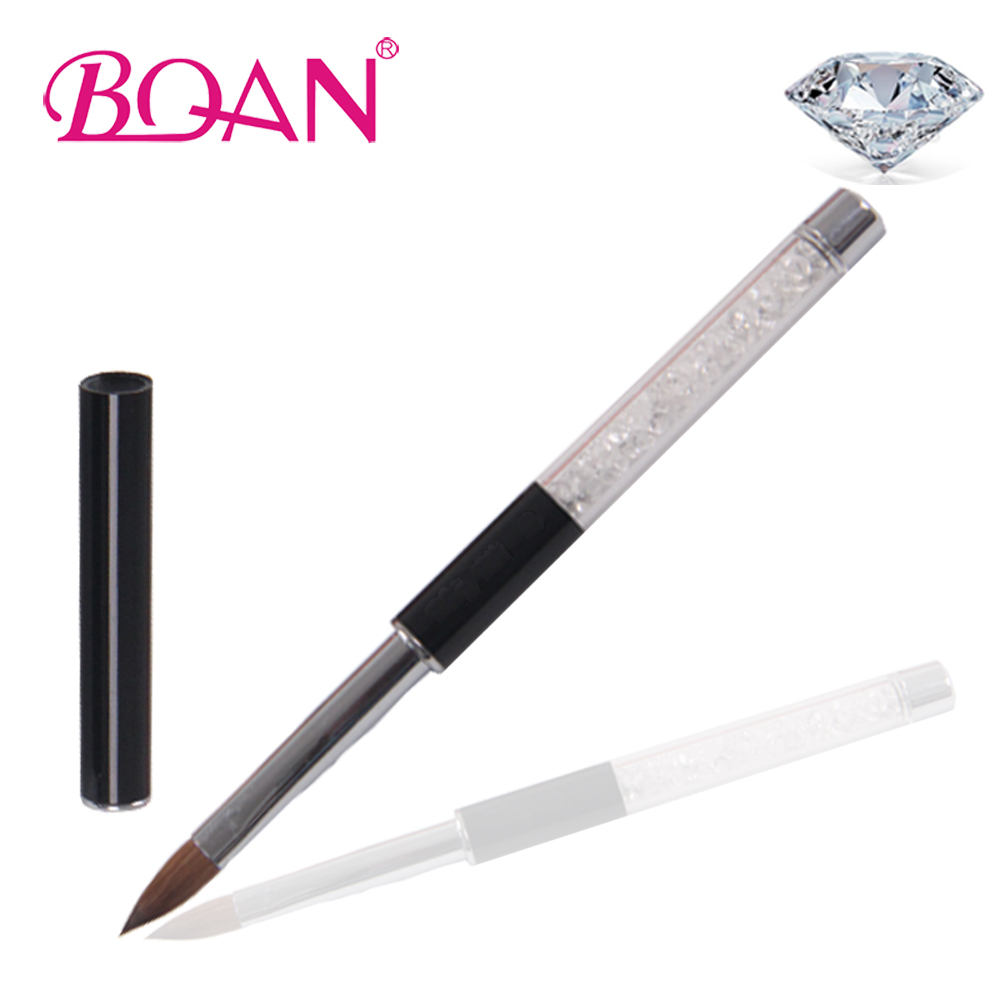 BQAN Crystal Retail Rhinestone Handle Nail Art Design Pure Kolinsky Brush Acrílico Nail Brush 10 #