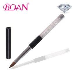 BQAN 1Pc 10 # pur Kolinsky Sable cheveux cristal détail strass poignée ongles Art Design brosse acrylique brosse à ongles