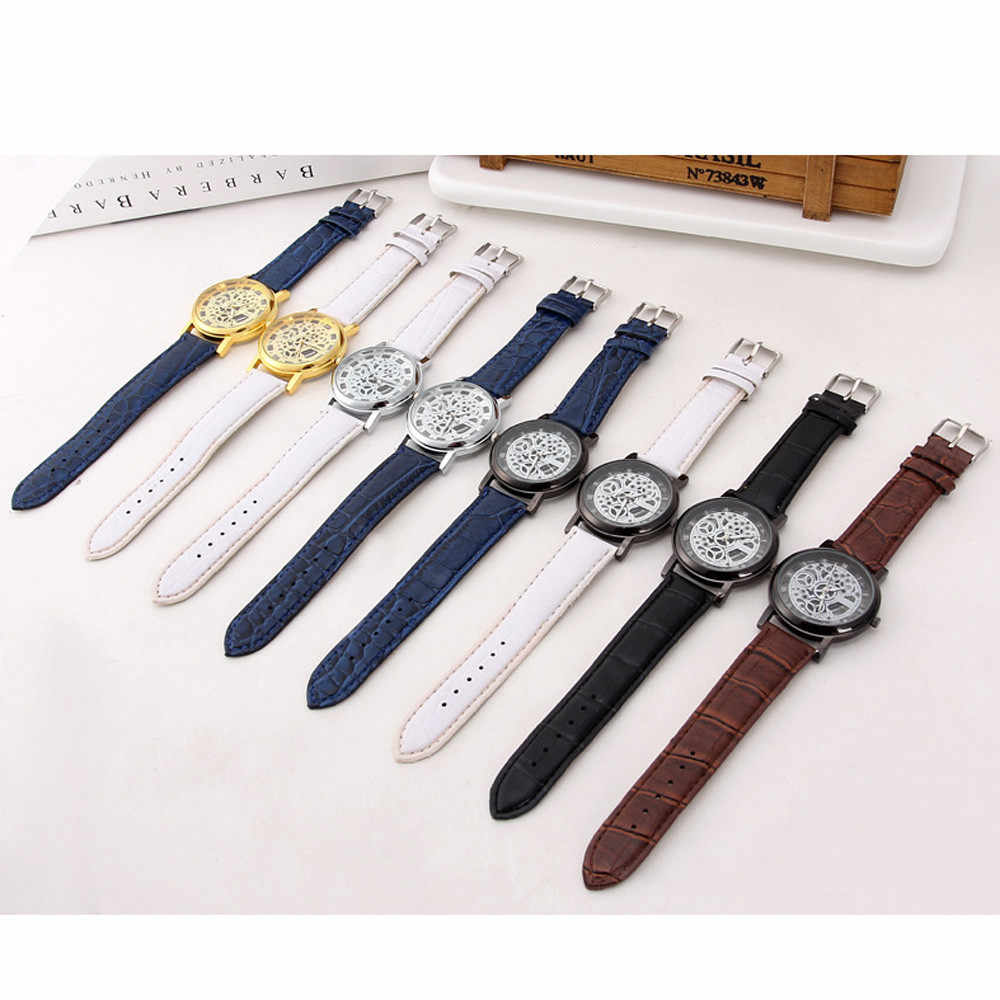 Top Merk Mannen Fashion Horloges Roestvrij Staal Quartz Militaire Sport Lederen Band Dial Polshorloge Klok Masculino